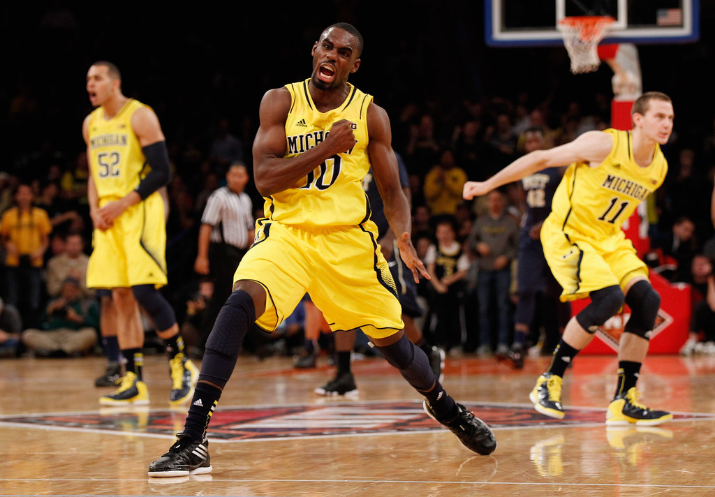 Tim Hardaway Jr. celebrates at Madison Square Garden