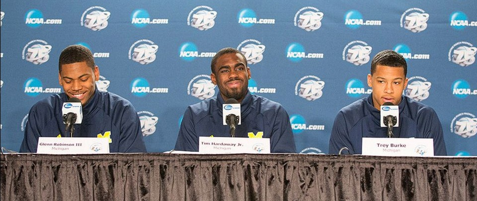 Tim Hardaway Jr. faces the media during March Madness