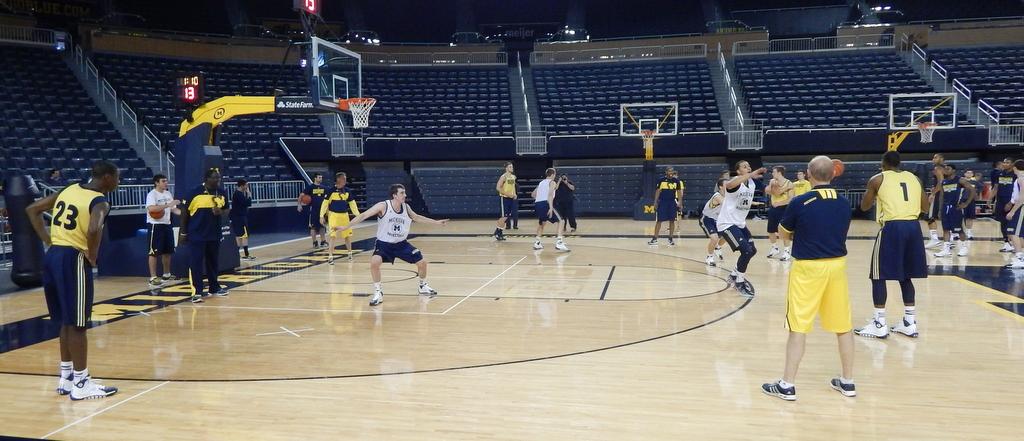 Wide shot of practice